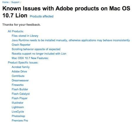 """Adobe notes products with Lion-related """"known issues"""""""