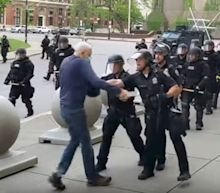 'Utterly disgraceful': New York police officers suspended after viral video shows them shoving 75-year-old man to ground