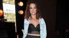 Katie Holmes Shows Off Toned Abs in Sexy Lace Bra and Denim Jacket in Italy