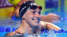 Katie Ledecky, after chats with legends, wins two races in one night at Olympic Trials