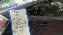 Rideshare drivers stage caravan protest over Uber's labor practices