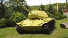 Ready, aim, oops! Historic tank turns lemon-lime yellow