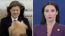 Awkward disruption during TV reporter's live cross
