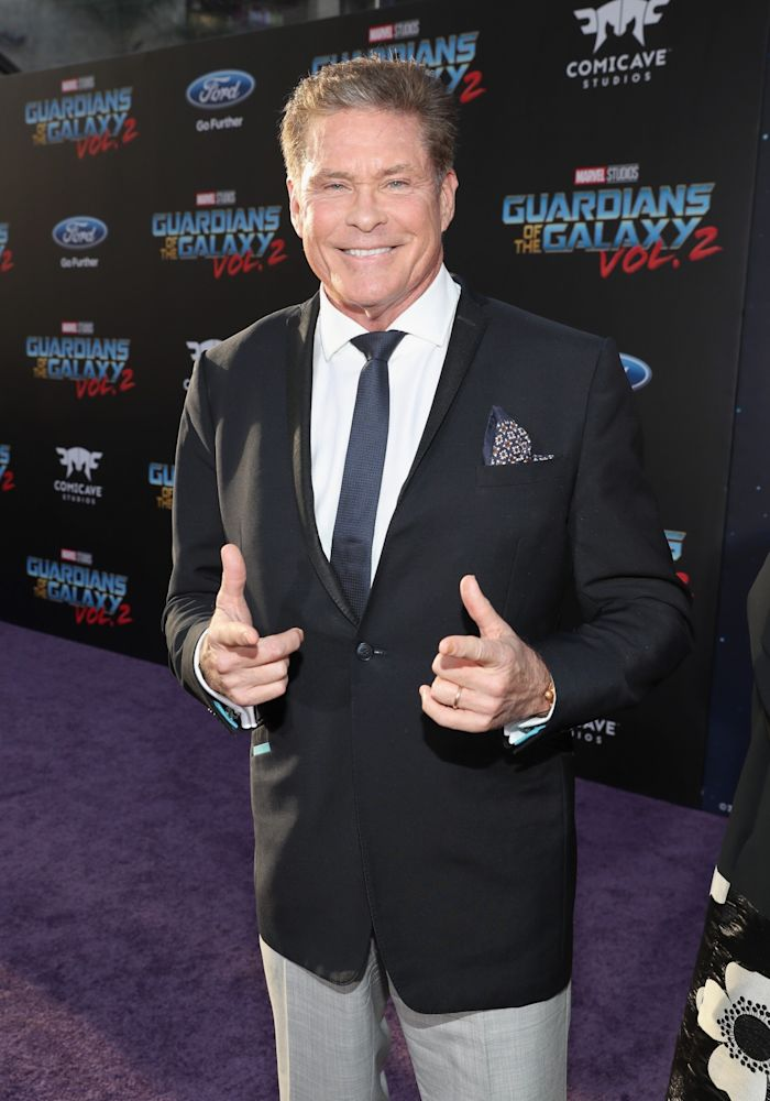 "David Hasselhoff at ""Guardians of the Galaxy Vol. 2"""" world premiere in Hollywood. (Photo: Rich Polk/Getty Images for Disney)"