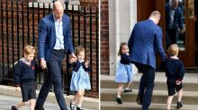 Prince George and Princess Charlotte arrive at hospital to visit baby brother