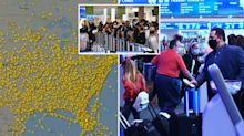 Confronting images emerge as millions of Americans fly despite Covid warnings