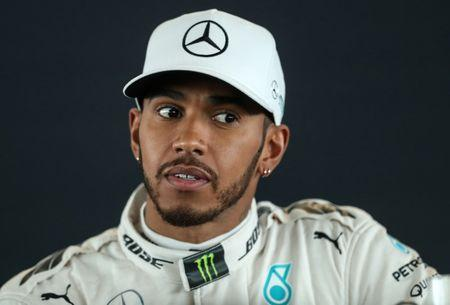 Mercedes' Lewis Hamilton during the launch