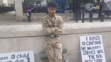 Government has 'blood on hands' says serving soldier investigated for protesting against war in Yemen while wearing uniform