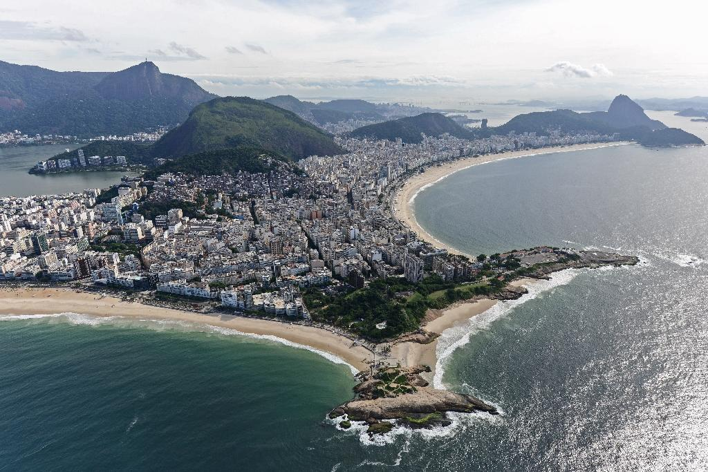 Aerial view of Ipanema and Copacabana beaches in Rio de Janeiro, Brazil, on April 11, 2013