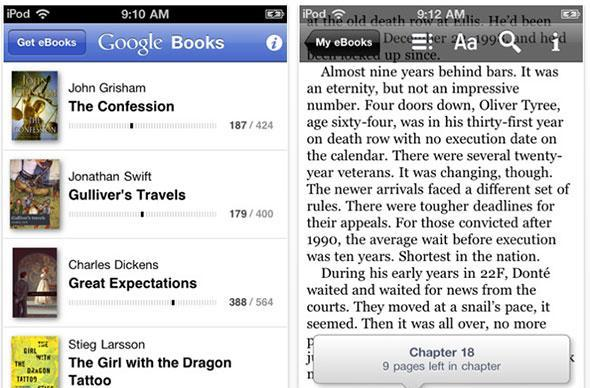Google Books for iOS adds landscape reading, speed boost