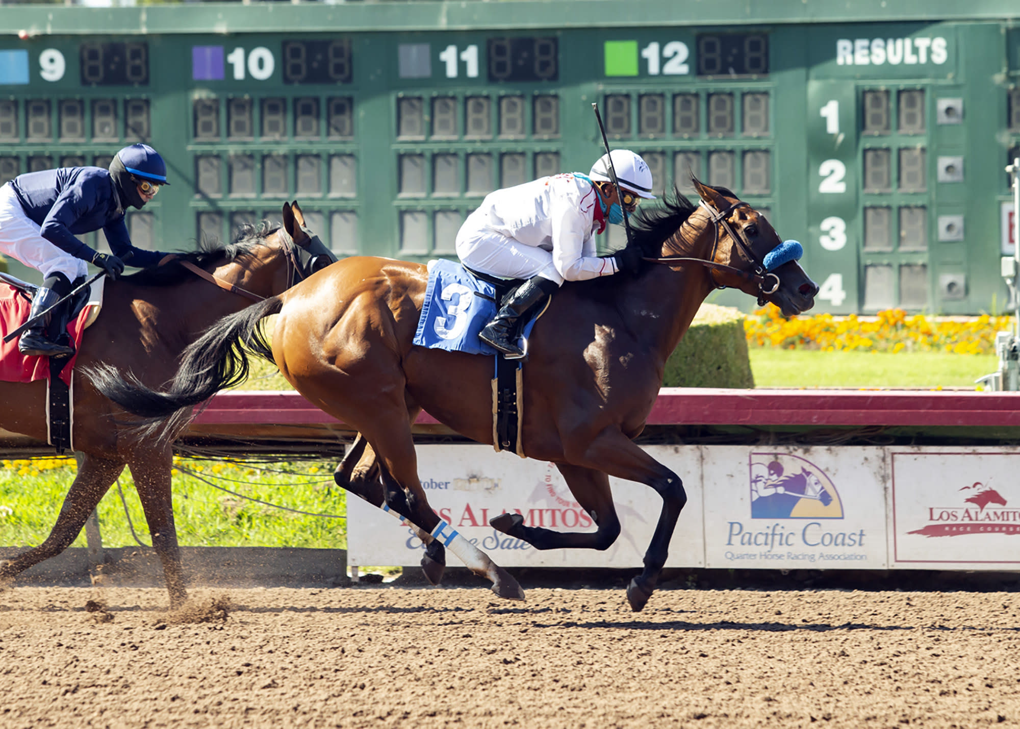 In this image provided by Benoit Photo, Sneaking Out, with Martin Garcia aboard, wins the Grade II, $200,000 Great Lady M Stakes horse race Saturday, July 4, 2020, at Los Alamitos Race Course in Cypress, Calif. (Benoit Photo via AP)
