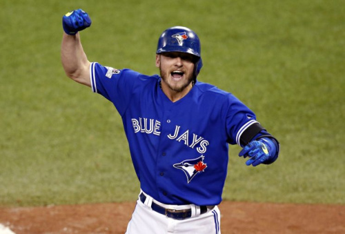 Josh Donaldson may not have been with the Blue Jays, but he still celebrated Thursday's win. (AP Photo)