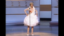 Ellen Degeneres emulating Björk's swan dress at the Emmys