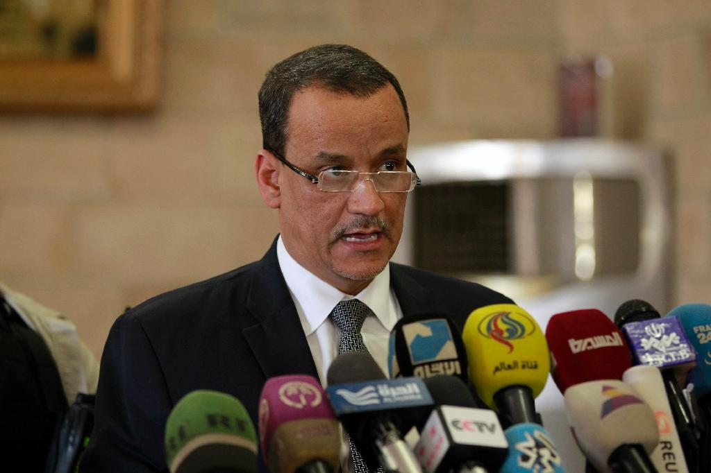 The United Nations Special Envoy to Yemen Ismail Ould Cheikh Ahmed speaks ahead of his departure at Sanaa international airport on January 14, 2016