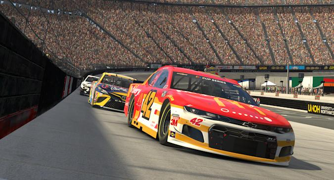 BRISTOL, TENNESSEE - APRIL 05: (EDITORIAL USE ONLY) (Editors note: This image was computer generated in-game) Kyle Larson, driver of the #42 McDonald's McDelivery Chevrolet, races at Bristol Motor Speedway on April 05, 2020 in Bristol, Tennessee. (Photo by Chris Graythen/Getty Images)