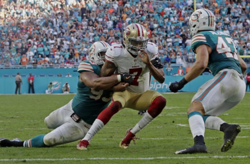 One of Colin Kaepernick's best performances of 2016 happened in a loss to the Dolphins in Miami. (AP)