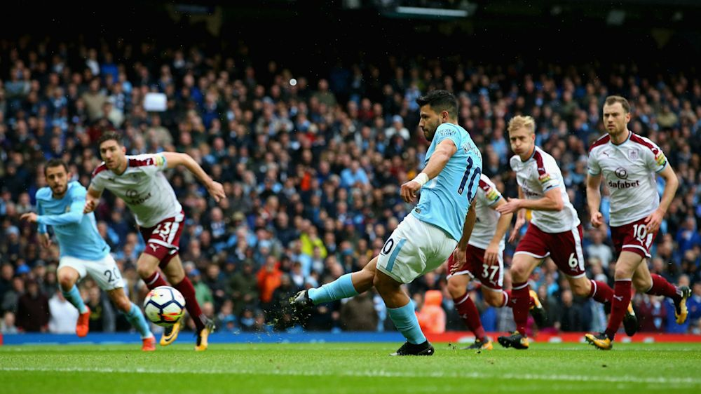 Manchester City 3 Burnley 0: Aguero levels record as Guardiola's men stretch lead