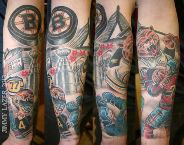 Insane Boston Bruins tattoo features bear mauling Subban, Sedin (Photo)