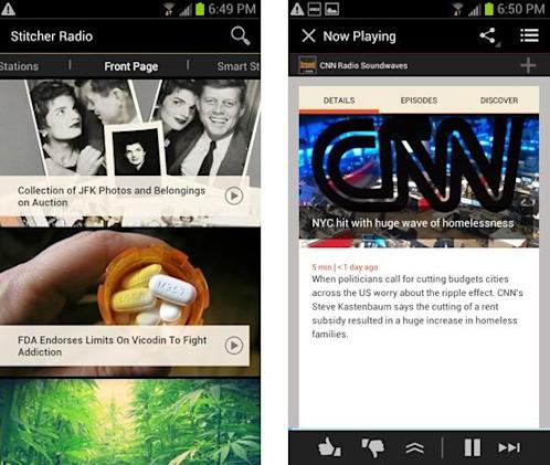 Stitcher overhauls its Android app to dovetail with Google's interface world (update: new iOS feature)