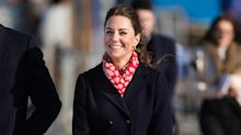 Duchess of Cambridge wraps up in navy Hobbs coat for South Wales visit - and it's on sale