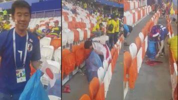 EJEMPLAR | Hinchas japoneses recogen su basura tras el partido con Colombia