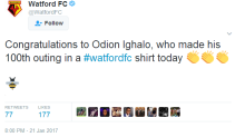 Ighalo makes 100th Watford appearance