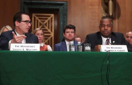 U.S. Treasury Secretary Mnuchin testifies before Senate Banking hearing on Capitol Hill in Washington