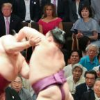 "Trump watches ""incredible"" sumo wrestling in Japan"