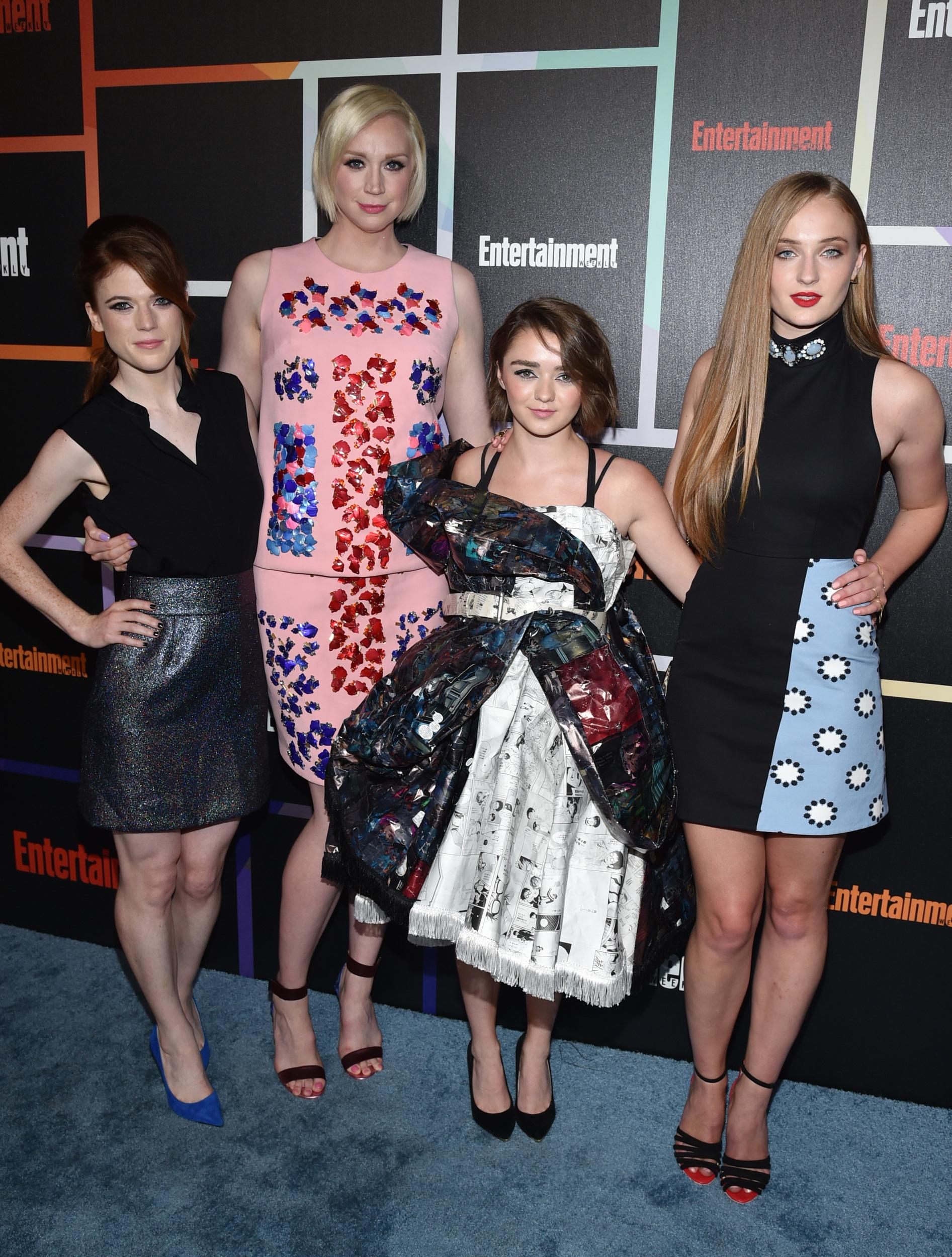 Rose Leslie, and from left, Gwendoline Christie, Maisie Williams and Sophie Turner arrive at Entertainment Weekly's Annual Comic-Con Closing Night Celebration at the Hard Rock Hotel on Saturday, July 26, 2014, in San Diego. (Photo by John Shearer/Invision for Entertainment Weekly/AP Images)