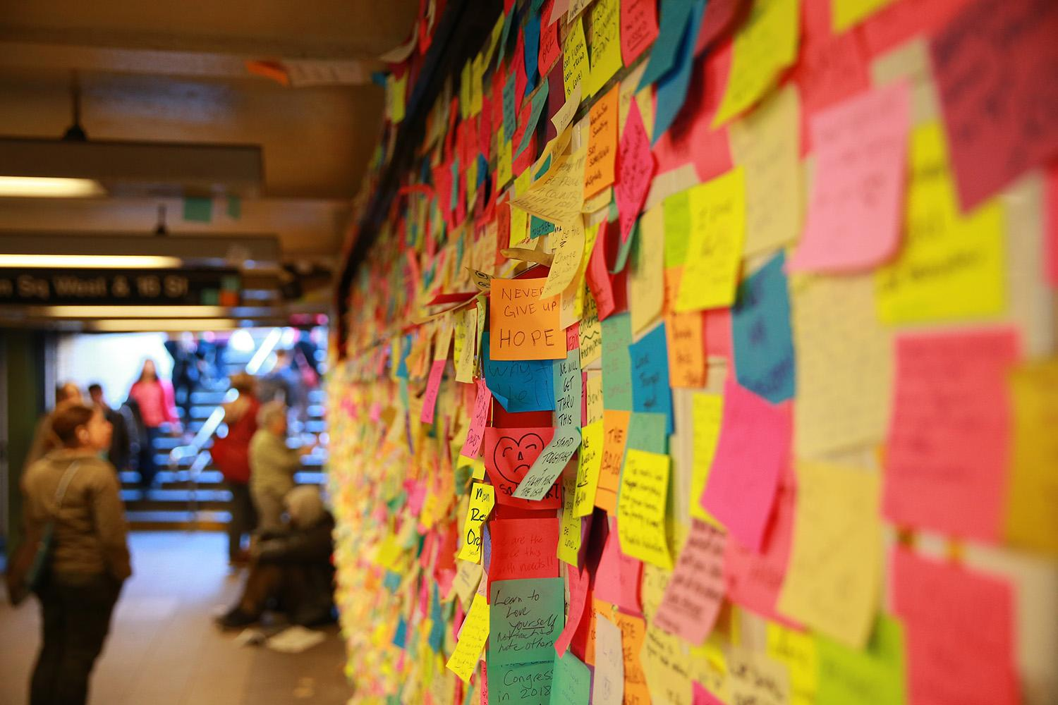 """<p>Post-it notes cover the walls of a subway passageway at the Union Square station in New York City, left by subway riders as part of postelection """"Subway Therapy"""" by New York artist Matthew Chavez, Saturday, Nov. 18, 2016. (Gordon Donovan/Yahoo News) </p>"""