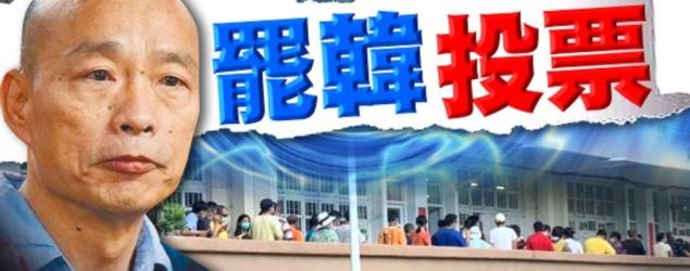 台灣高雄周六(6日)舉行罷免市長韓國瑜投票,是台灣史上首次有直轄市舉行市長罷免投票。票站於上午8時開門,警方動員萬人戒備,至下午4時投票結束,並即場點票。根據該市選委會點票結果,同意票已逾60萬票,超過合資格投票人數的四分之一,且大幅領先反對票,意味着罷免成功,韓國瑜成為台灣史上首位被成功罷免的直轄市長。台媒指,韓國瑜下午召集市政府部門首長會面,料將對結果表態。