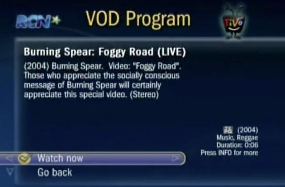 TiVo Premiere's RCN VOD menu is based on the classic interface