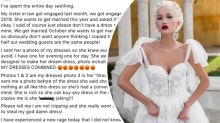 Bride 'seething' after sister in law 'steals' her dream dress