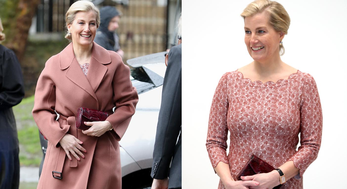 Countess of Wessex wears stylish blush ensemble to ballet school