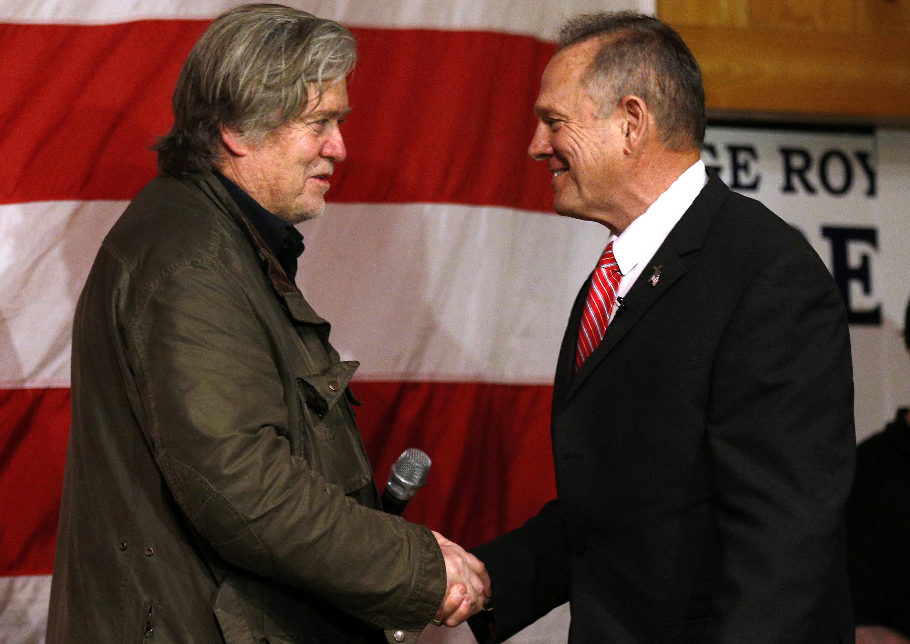 Steve Bannon, left, and Roy Moore