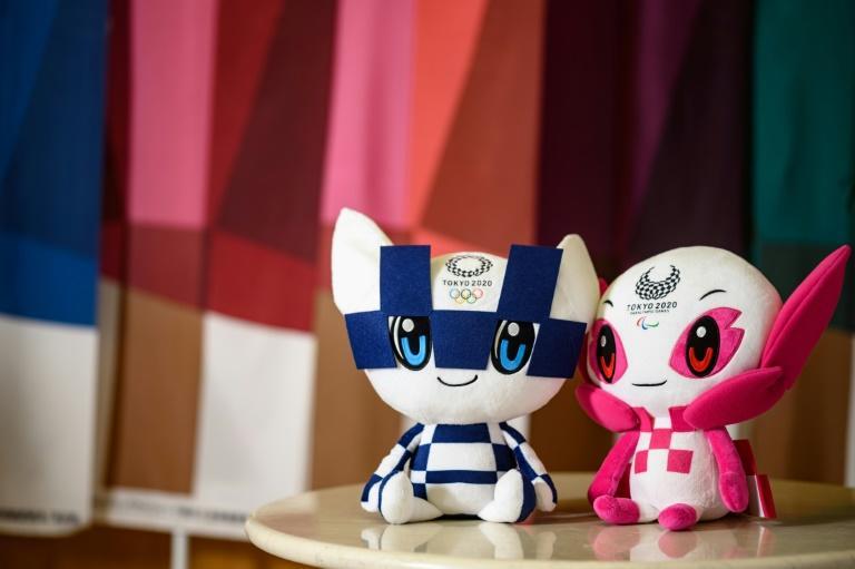 Someity (right), the official mascot of the Tokyo 2020 Paralympics, with Miraitowa the mascot of the Tokyo Olympic Games