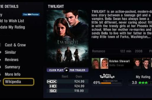 VUDU updates keep rolling by integrating Wikipedia