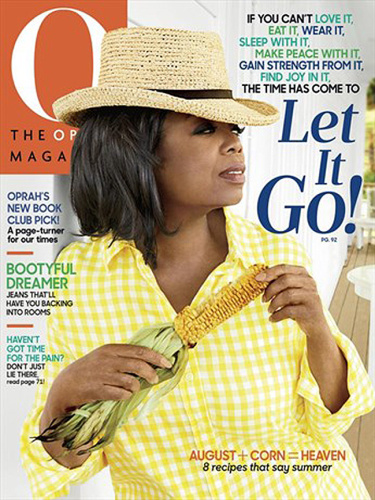 Oprah living her best life in yellow gingham with matching corn. (Photo: The Oprah Magazine)
