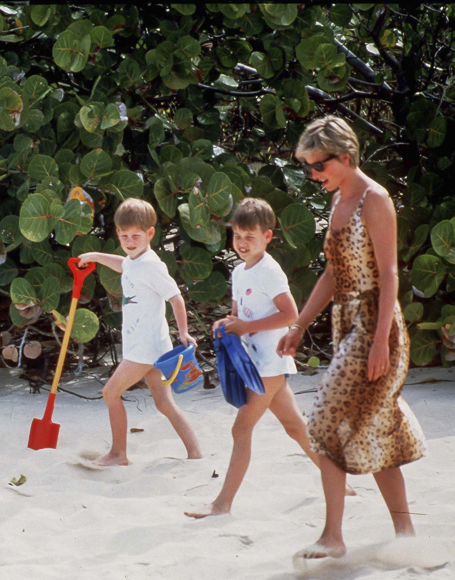 NECKER ISLAND, BRITISH  VIRGIN ISLANDS - APRIL 11:  Diana, Princess of Wales, with Prince William, and Prince Harry, on Holiday In Necker Island In The Caribbean, on April 11, 1990, in the British Virgin Islands. (Photo by Julian Parker/UK Press via Getty Images)
