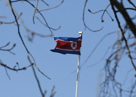 A North Korean flag is pictured at its embassy in Beijing