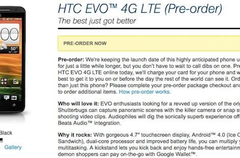 PSA: Sprint HTC EVO 4G LTE up for pre-order today, May 18th release date hinted at Wirefly