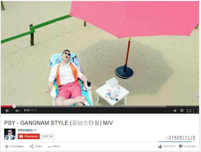 Gangnam Style überwindet YouTube-Zuschauerzähler (Video)