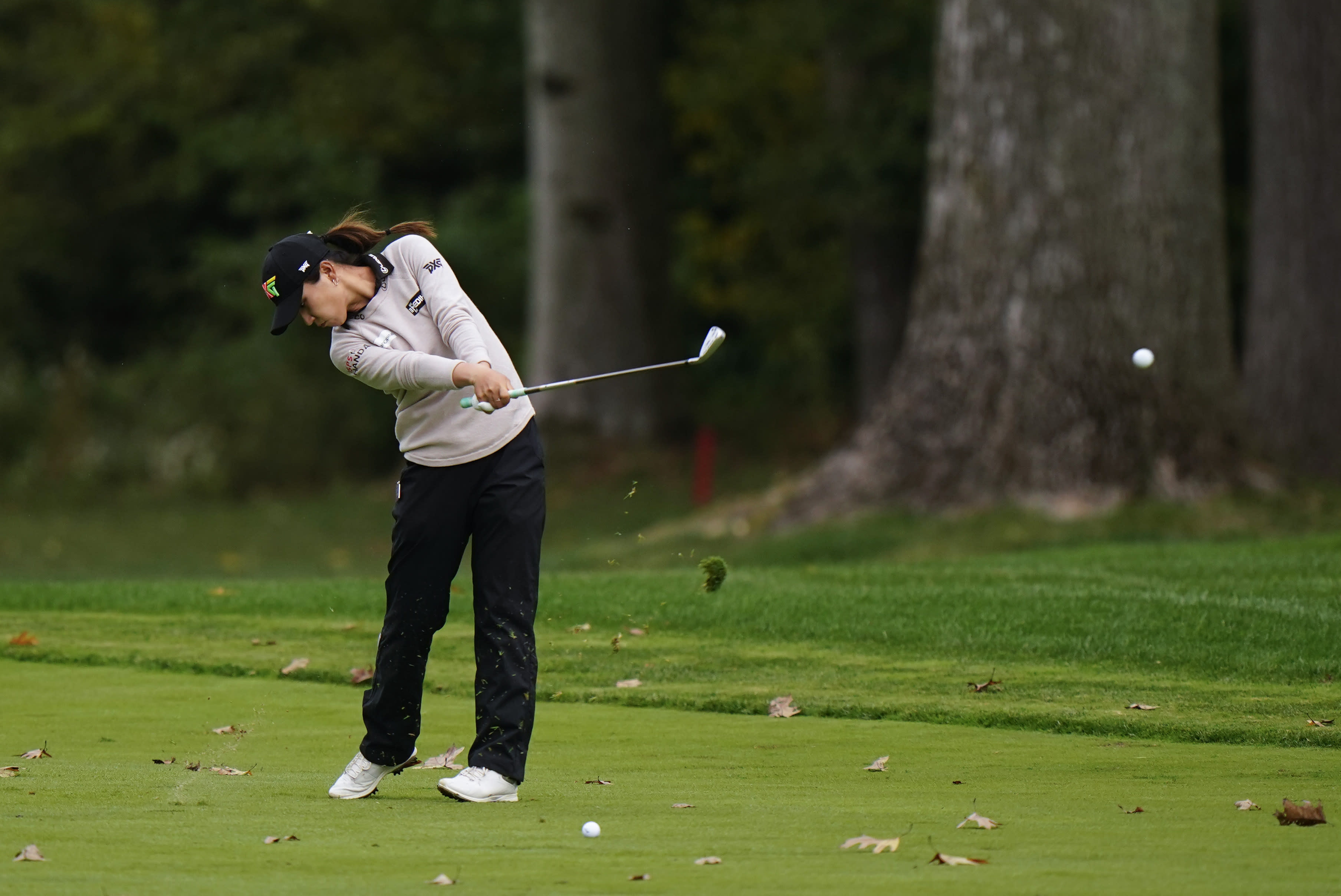 Lydia Ko, of New Zealand, hits from the first fairway during the third round at the KPMG Women's PGA Championship golf tournament at the Aronimink Golf Club, Saturday, Oct. 10, 2020, in Newtown Square, Pa. (AP Photo/Matt Slocum)