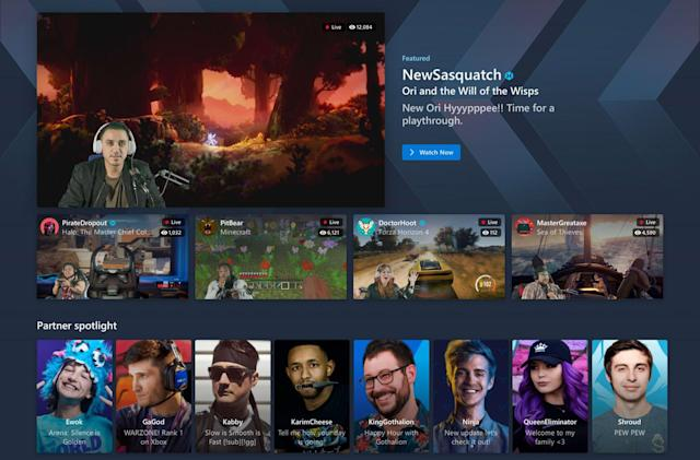 Mixer's new homepage showcases streamers it poached from Twitch