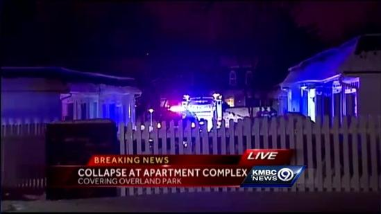 Awning collapses at Overland Park apartment complex