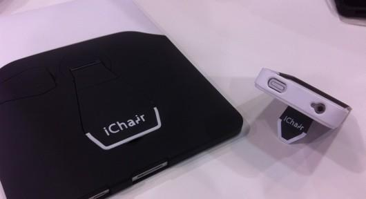 The iChair combines a case with a stand for iPhone and iPad