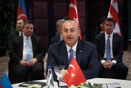 Turkish Foreign Minister Mevlut Cavusoglu speaks during a meeting in Istanbul, Turkey October 29, 2018. Cem Ozdel/Turkish Foreign Ministry/Handout via REUTERS ATTENTION EDITORS - THIS PICTURE WAS PROVIDED BY A THIRD PARTY. NO RESALES. NO ARCHIVE.