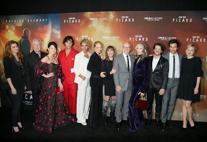 """HOLLYWOOD, CALIFORNIA - JANUARY 13:  The cast of """"Star Trek: Picard"""" attend the premiere of """"Star Trek: Picard"""" at ArcLight Cinerama Dome on January 13, 2020 in Hollywood, California. (Photo by Jemal Countess/WireImage)"""