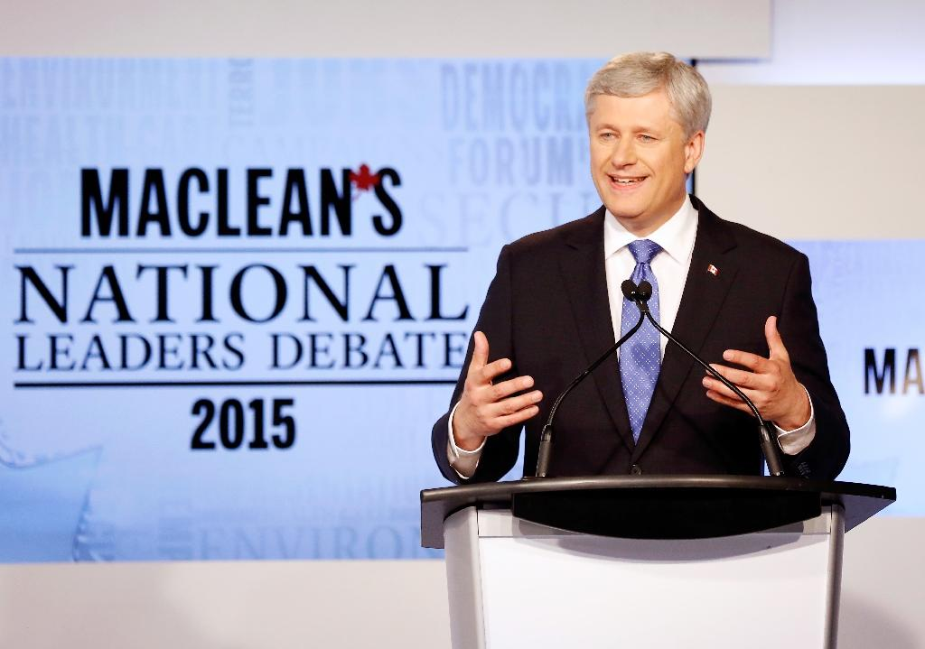 Conservative leader Prime Minister Stephen Harper speaks during the MacLean's National Leaders debate in Toronto, August 6, 2015