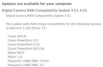 Digital Camera RAW Compatibility Update 4.01 supports Canon EOS M, Nikon D600